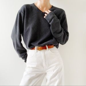 Silk and cotton oversized v neck sweater